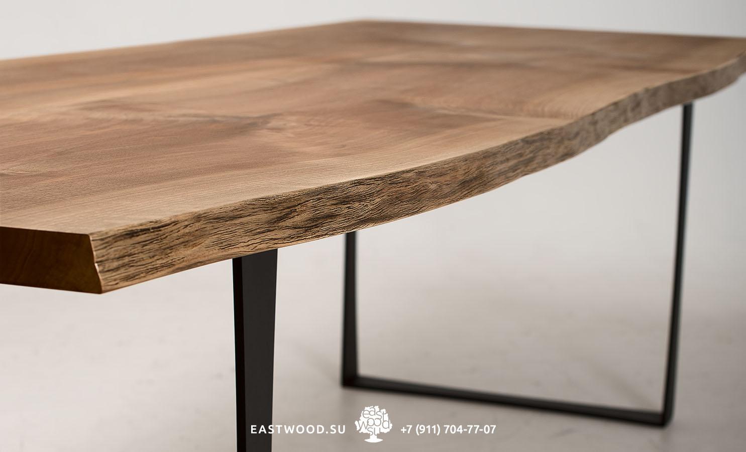 столы слэбы из массива дерева с необрезным живым краем в